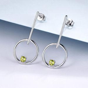 Natural Peridot Drop Silver Earrings For Women